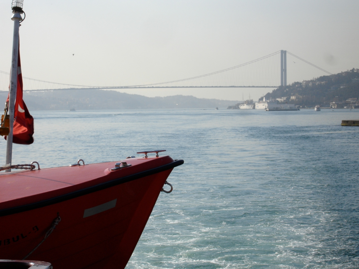 Bosphorus Bridge and Turkish Red