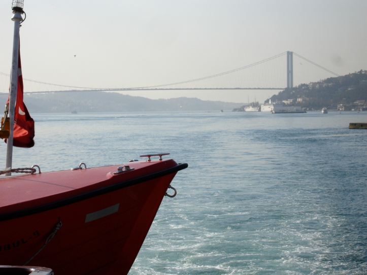 Bosphorus Bridge and Turkish Red