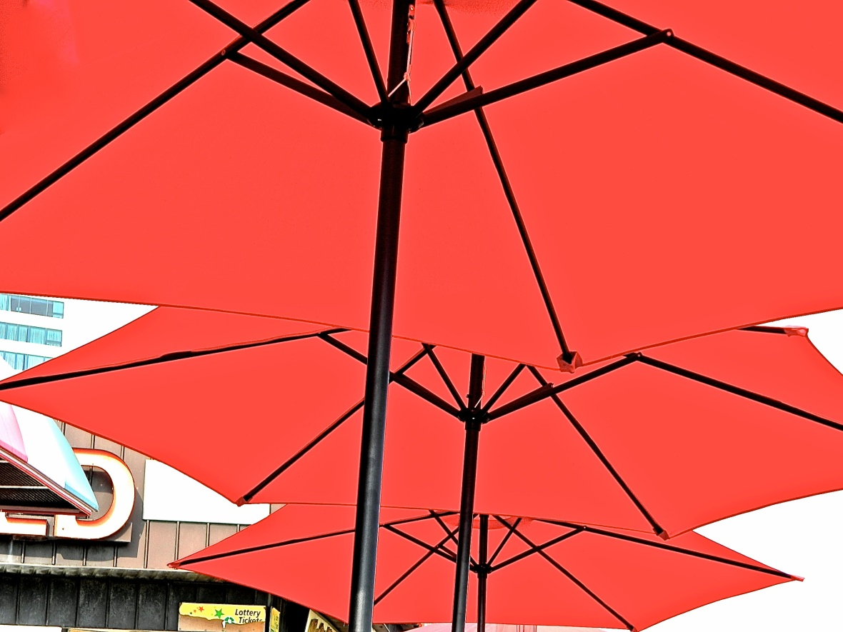 Three Umbrellas Red