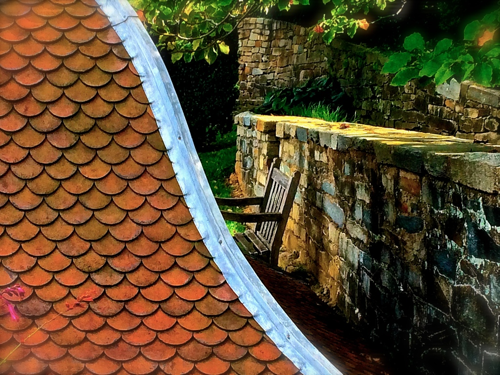 Dumbarton Oaks Roof Curve Bench Wall