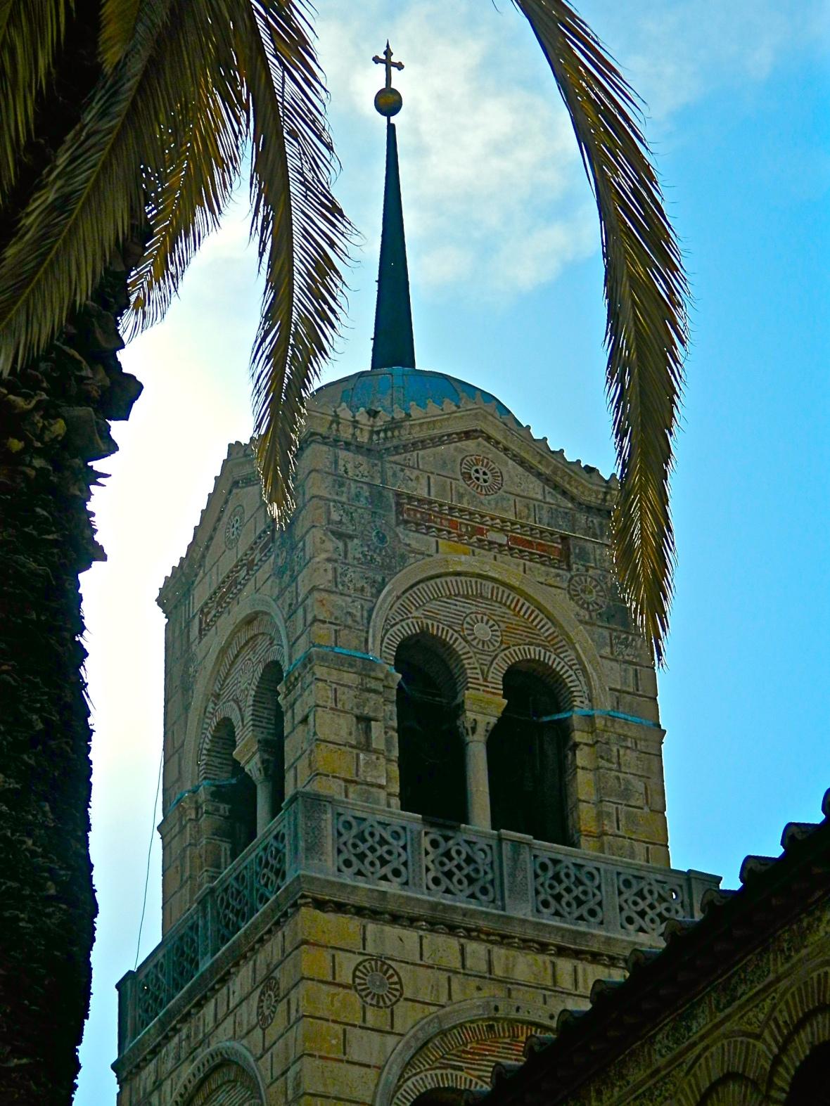 Church Steeple and Palms